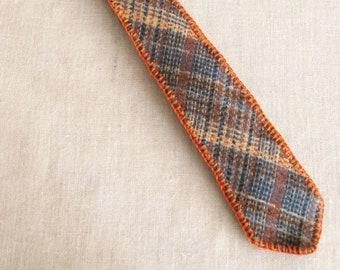 Vintage Plaid Ties, Mens Hand Embroidered Necktie, Tan ,Orange, Preppy, Handmade, Upcycled, Wool