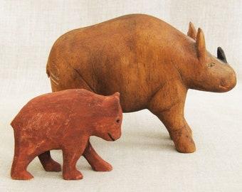 Vintage Folk Art Animal Wood Carvings, Rhinoceros, Bear Cub, Bill Jarvis, Bremen Kentucky