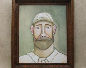 Male Portrait Painting, Framed Contemporary Original Fine Art, Men with Beards, Hats