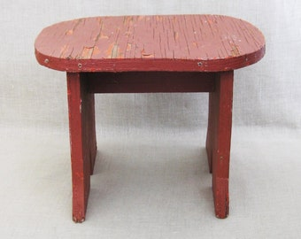 Vintage Primitive Handmade Wooden Stool, Red Chip Paint, Seating, Folk Art, Footstool, Small Table, Plant Stand,Furniture,Rustic Cabin Decor