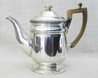 Antique Old Sheffield Silver Plate Coffee Tea Pot, 19th Century, Wooden Handle, Fused