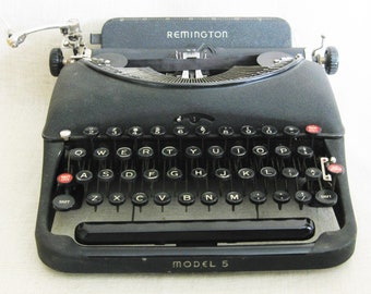 Vintage Remington Model 5 Antique Type Writer, Black, Office Machine, Industrial Decor, Parts and Repair, Writing Tool, Small, No Case