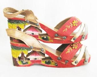 Vintage Platform Sandals, Shoes Hand Carved, Embroidered Fabric, Wooden 1940s, Souvenir, Folk Art