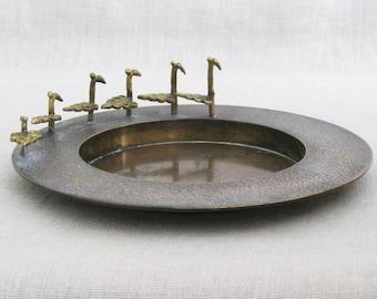 Vintage Tray with Figural Birds, Bronze, Dresser, Vanity, Serving, Metal Plate, Decorative, Desk Top