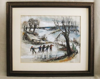 Vintage Winter Landscape, Kids Ice Skating, Framed, Original Fine Art, Lake, Gouache, Charcoal, Pastels, Large, Rustic Cabin Wall Decor