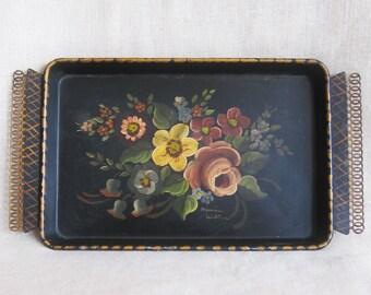 Vintage Hand Painted Black Toleware Serving Tray, Vanity, Floral Bouquet, Dresser, Entertaining, Antique, Metal, 8 x 12, Signed, Flowers