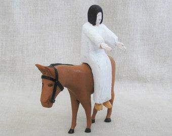 Vintage Horse Carving, Folk Art Man on Horse, Jesus, Bill Jarvis, Kentucky, Religious, Rustic Primitive Decor