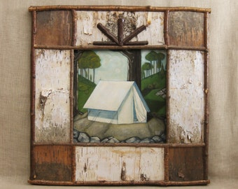 Original Fine Art, Landscape Painting, Camping Tent, Framed, Wil Shepherd Studio, Architecture, Birch Bark Frame, Nature, Trees,Hand Painted