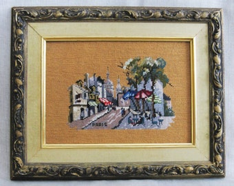 Vintage Needlepoint Paris Street Scene, Architecture, Landscape, France, Framed Embroidery