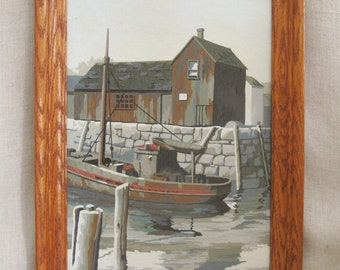 Vintage Mid-Century Paint by Number, Seaside, Dock House, Pier, Water Front, Boats, Architecture, Hand Painted, Framed, 10 x 14, Wall Decor