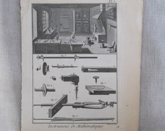 Antique Bookplate Engraving, Book Plate, Bernard Direxit, Instruments, 18th Century, Original