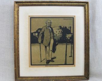 Vintage Male Portrait Fine Art Print, Antique, 19th Century, William Nicholson, W.E. Gladstone, Framed, European, British, England