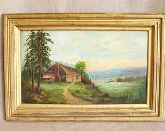 Antique Folk Art Landscape Painting, Alice Miller, Original Fine Art, Log Cabin, Oil Painting, Primitive, Naive, Outsider Art, Nature, 1943