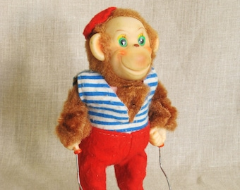 Vintage Monkey Toy, Battery Operated, Animated, Moving, Motor, Animals, Circus, Souvenir