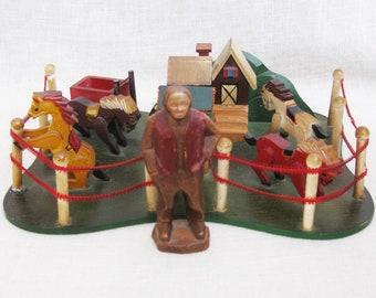 Vintage Folk Art Style Corral of Horses Sculpture, Equestrian, Ranch Model, Whimsical, Animals, Farm, Rustic Interiors,Nursery Decor,Unusual