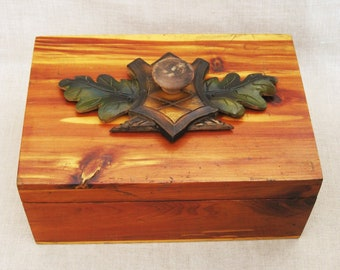 Vintage Folk Art Wooden Box, Cedar, Handmade, Storage, Organization, Carved, Desk Top, Office, Jewelry, Trinket, Documents, Remote Controls