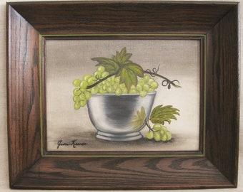 Vintage New England Folk Art Style Still Life Paintng, Bowl of Fruit, Original Fine Art, Framed
