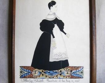 Vintage Folk Art Fine Art Print, Reproduction, Watercolor, Ink Drawing, Joseph H Davis, Betsy Tuttle, Rustic Primitive Wall Decor, Framed