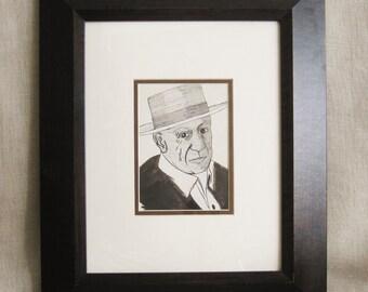 Vintage Male Portrait Pen and Ink Drawing, Illustration, Picasso, OOAK, Original Fine Art, Framed, Drawings of Men, Wall Decor,Modern Frame
