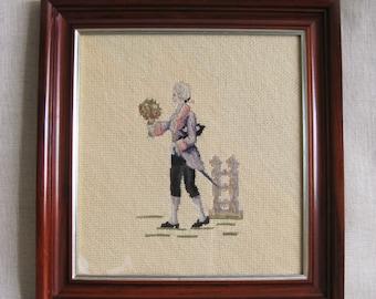 Vintage Needlepoint Male Portrait, Petit Point, Man, Embroidery, Handmade, Framed Needlework, Hand Sewn, Romance, Flowers,Historical Costume