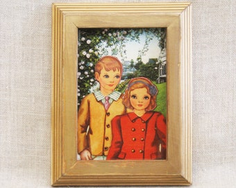 Child Portrait Collage, Vintage Paper Dolls, Framed Wall Decor, Nursery, Kids Room, Handmade, Fashion