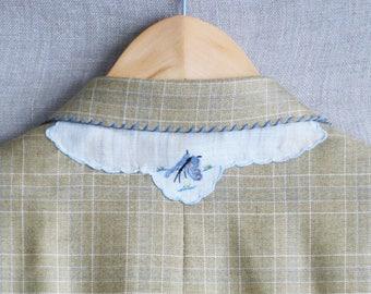 Vintage Burberry's Men's Plaid Sport Coat, Blazer, Preppy Jacket, Unisex, 38R, Hand Embroidered