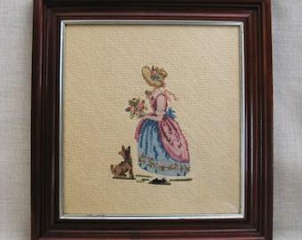 Vintage Needlepoint Female Portrait, Petit Point, Terrier, Embroidery, Handmade, Framed Needlework, Hand Sewn, Romance, Historical Costume