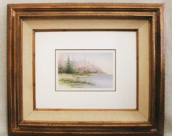Vintage Arnold Alaniz Framed Landscape Lithograph, Signed, Appalachian Spring, Pastel Palette, Large Gold Frame, Nature Scene, 23 x 27, Soft