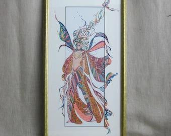 Vintage Fashion Illustration, Female Portrait, Framed, Pointillism, Color Ink Drawing, Colorful, Original Fine Art, Costume Design, Large