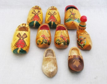 Vintage Clogs, Collection of Miniature Wooden Shoes, Folk Art, Hand Painted, Windmills, European