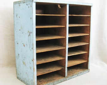 Vintage Primitive Bookcase, Pie Safe Shelf, Painted, Side Table, Paper File, Storage and Organization, Rustic Cabin Decor