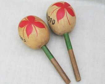 Vintage Maracas Trinidad, Musical Instrument Souvenir, Mid-Century, Celebratory Noise Makers, Rattles, Caribbean Toys