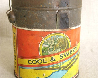 Antique Tobacco Tin with Paper Label, Plow Boy, Canister, Rare, Storage, Organization, Collectibles, Metal Box, Round, Advertising,Container