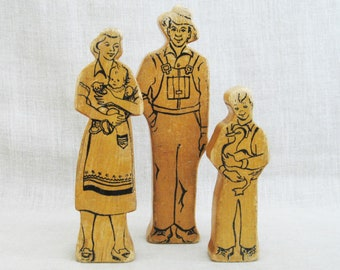 Vintage Wooden Block Figure Family, Dolls, Mother Father Son, Mid-Century Wood Toy Figurine