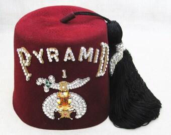 Vintage Shriner Fez with Storage Case, Pyramid, Jeweled Hat, Masonic Costume