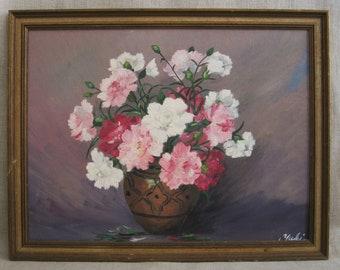 Vintage Flower Painting, Floral Still Life, Framed Original Fine Art, Romantic Feminine Decor