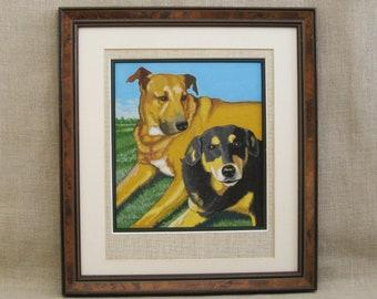 Vintage Dog Portrait Painting, Framed Original Fine Art, Signed Don Bechtel