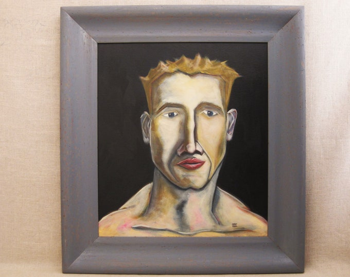 Featured listing image: Male Portrait Painting, Framed Contemporary Original Fine Art, Paintings of Men