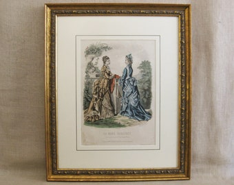 Vintage Fashion Illustration, Hand Colored Antique Engraving, Framed Female Portraits Wall Decor