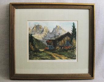 Vintage Landscape Lithograph, Kurt Moser, German Alps, Framed Signed Fine Art Print
