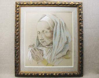 D Vintage Female Portrait Drawing, Margaret Aaberg, Pastels, Framed Original Fine Art, Nun