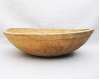 Vintage Wooden Dough Bowl, Large Primitive Bowl, Rustic Cabin Decor