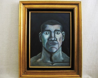 Male Portrait Painting, Framed Contemporary Original Fine Art, Paintings of Men