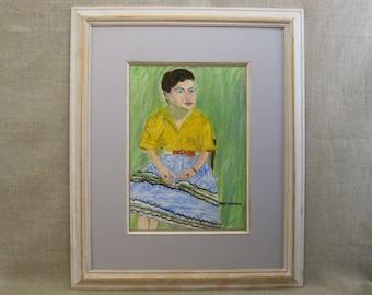 Vintage Female Portrait Drawing, Folk Art, Framed Original Fine Art, Earle T Merchant