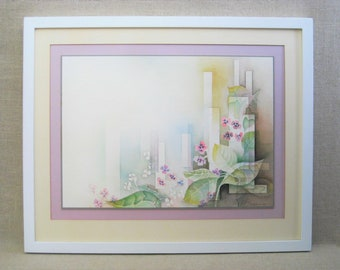 Vintage Flower Painting, African Violet Watercolor, Patricia Saad, Framed Original Fine Art