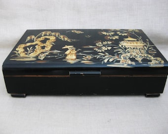 Vintage Asian Style Box, Tole Painted Multi-Purpose Hand Painted Storage and Organization