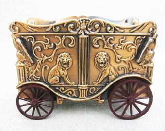 Vintage Coin Bank, Piggy Bank, Circus Wagon, Metal, Lion Motif, Banthrico