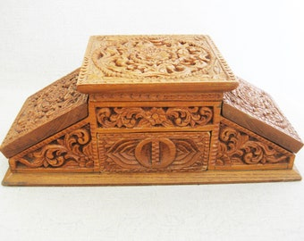 Vintage Jewelry Box, Hand Carved Wooden Vanity Storage and Organization, Desk Top