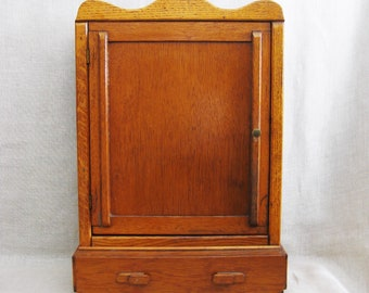 Antique Handmade Folk Art Medicine Cabinet, Spices, Storage, Organization, Small Hutch, Apothocary, Wall Mount, Desk Top, Bathroom, Office