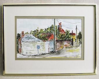 Vintage House Painting, Watercolor Urban Landscape, Petworth, Eloi Mikk, Framed Original Fine Art